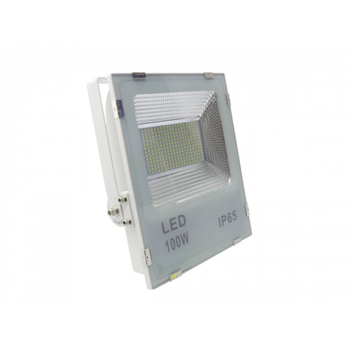 Proyector led slim 100W exterior IP65 SMD5730 blanco 6000K carcasa blanca 110l/w