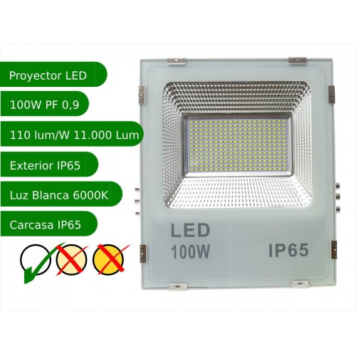 Proyector led slim 100W exterior IP65 SMD5730 6000K blanco 110l/w