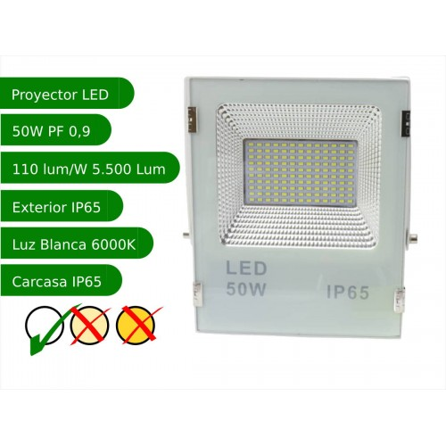 Proyector led slim 50W exterior IP65 SMD5730 6000K blanco 110l/w