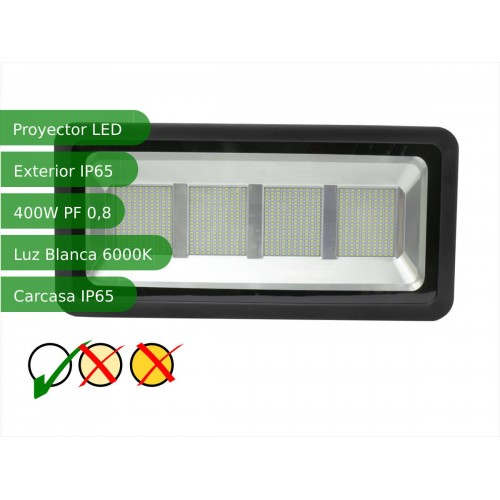 Proyector led slim 400W exterior IP65 SMD5730 blanco 6000K carcasa negra