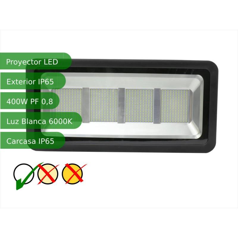 Proyector led slim 400W exterior IP65 SMD5730 blanco 6000K carcasa negra