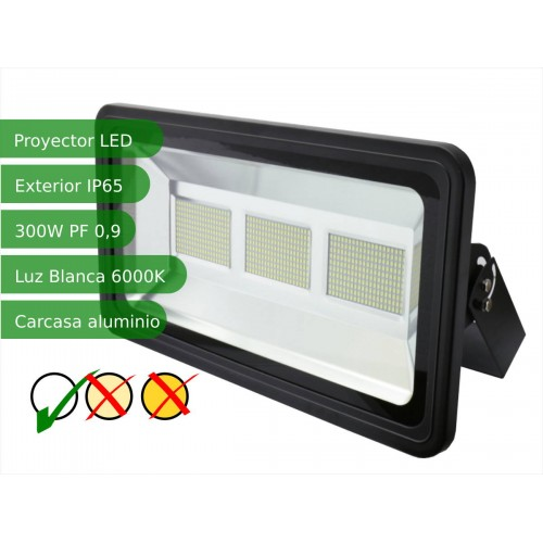 Proyector led slim 300W exterior IP65 SMD5730 blanco 6000K carcasa negra
