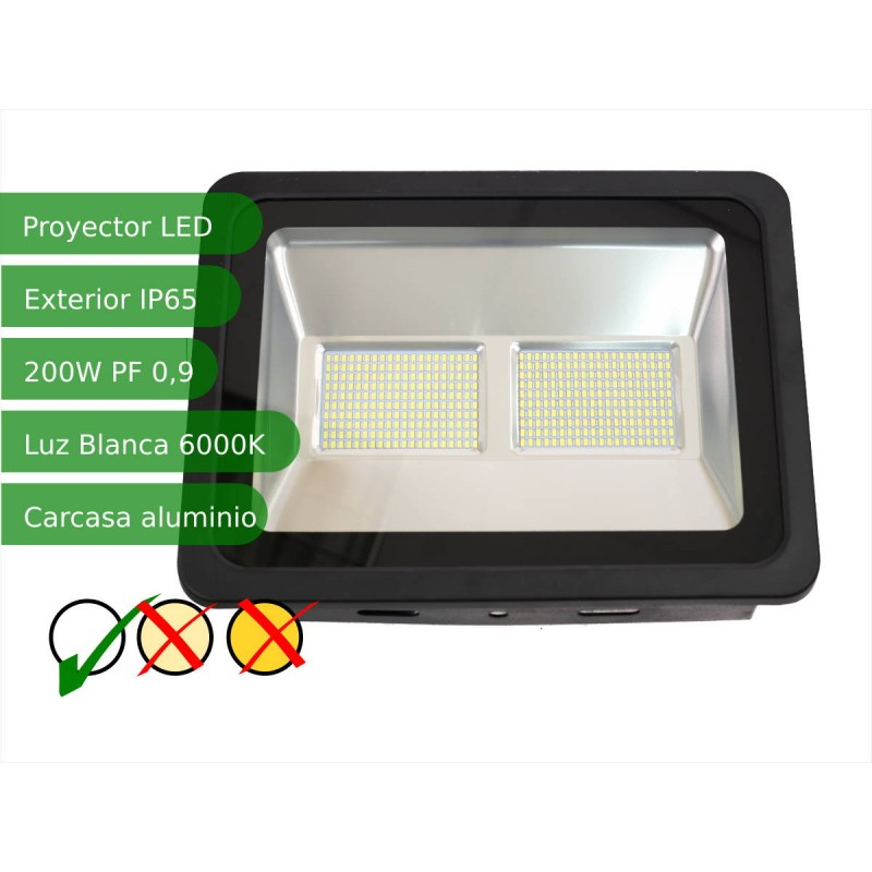 Proyector led slim 200W exterior IP65 SMD5730 blanco 6000K carcasa negra