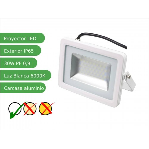 Proyector foco led 30W Slim SMD5730 blanco 6000K exterior IP65