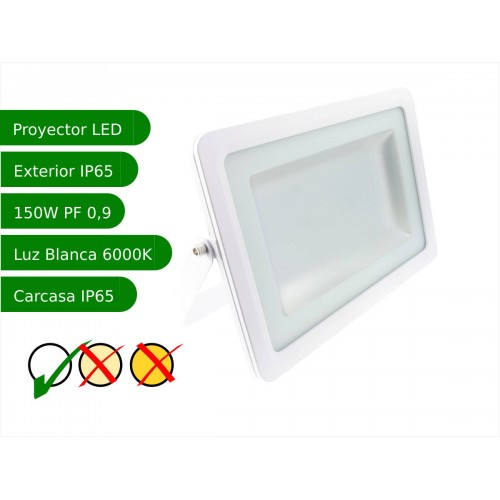 Proyector led slim 150W exterior IP65 SMD5730 blanco 6000K carcasa blanca