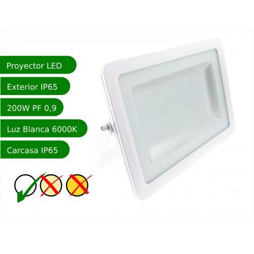 Proyector led slim 200W exterior IP65 SMD5730 6000K blanco