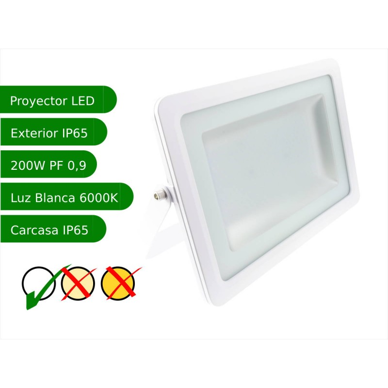 Proyector led slim 200W exterior IP65 SMD5730 blanco 6000K carcasa blanca