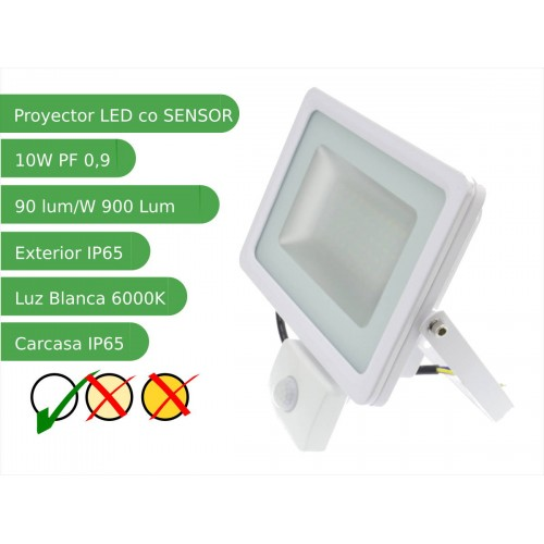Proyector led sensor 10W Slim SMD5730 blanco 6000ºK exterior IP65