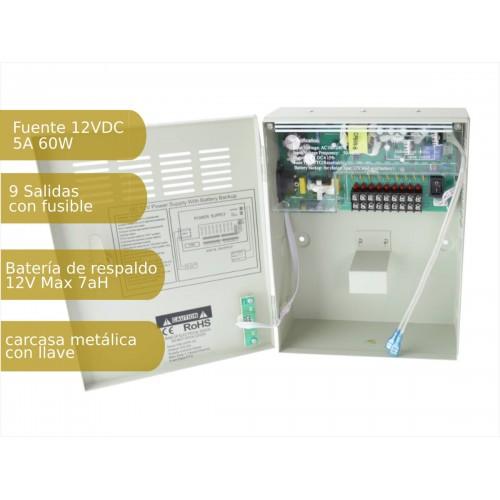 Fuente de alimentación 220V-12Vdc 5A carga batería 9 salidas armario