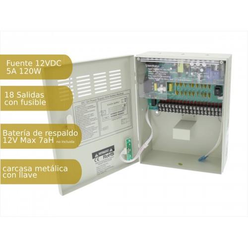 Fuente de alimentación 220V-12Vdc 10A carga batería 18 salidas armario