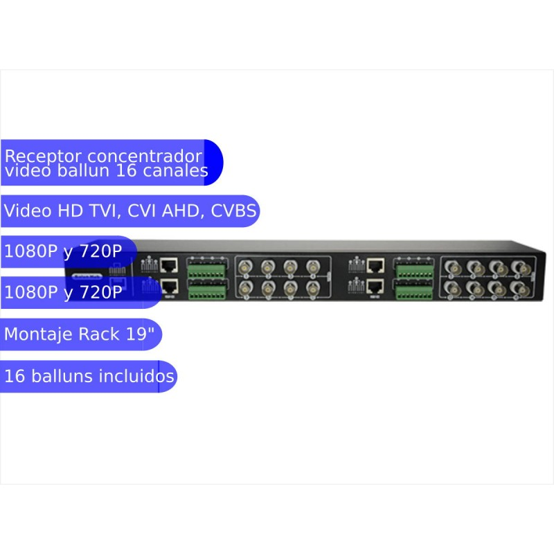 Concentrador video ballun de 16 canales pasivo video HD
