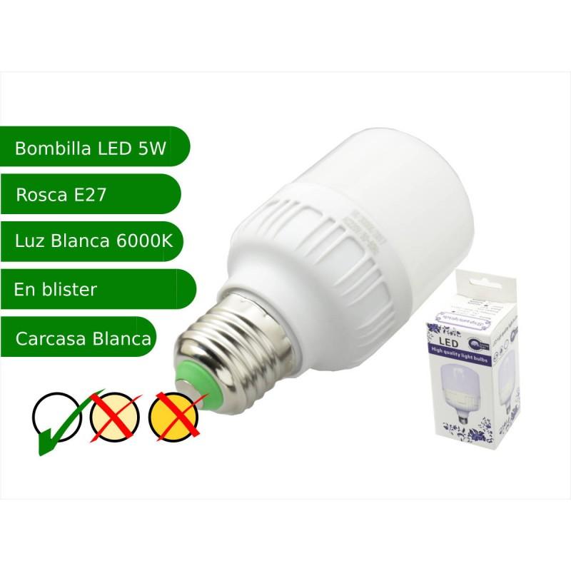 Bombilla LED 5W rosca E27 luz 6000ºK blanca fría