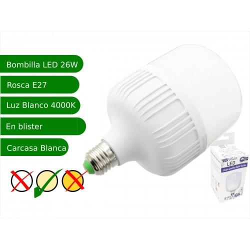 Bombilla LED 26W rosca E27 luz 4000ºK blanca natural