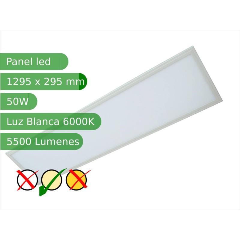 Panel led rectangular 50W 1200*300mm Blanco 6000K marco blanco