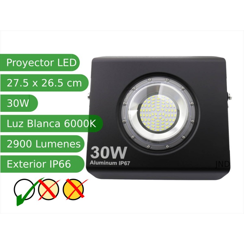 Proyector led extra plano 30W 120º Blanco 6000K exterior