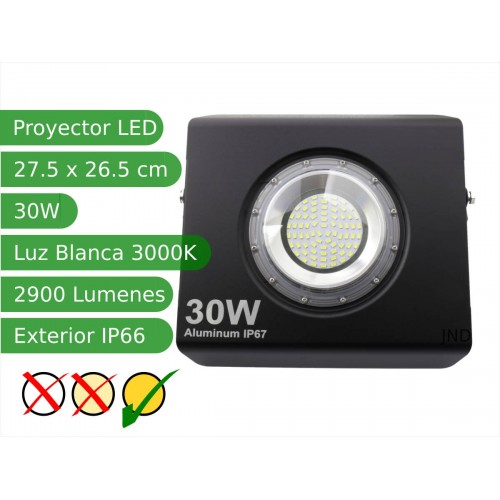 Proyector led extra plano 30W 120º Blanco 3000K exterior