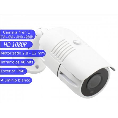 Camara Bullet 4 en 1 1080P exterior 2,8-12mm lente motorizada IR OSD blanca