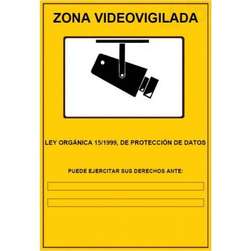 Cartel LOPD zona zona videovigilada amarillo A4