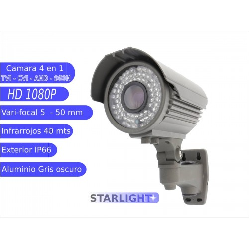Camara Bullet 4 en 1 1080P exterior 5-50mm infrarrojos OSD gris