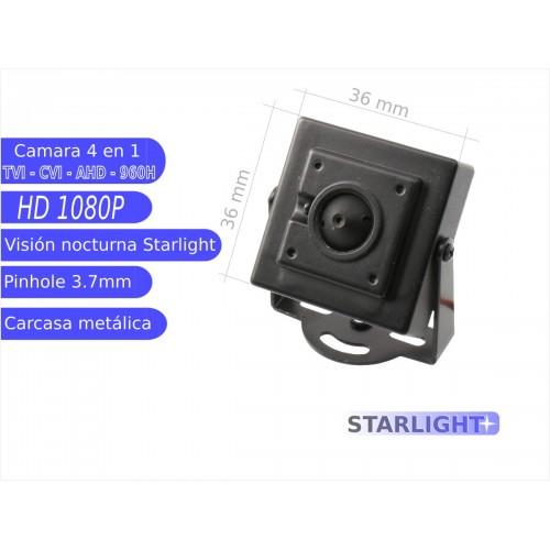 Mini camara 4 en 1 1080P interior 3,7mmstarlightOSD negra
