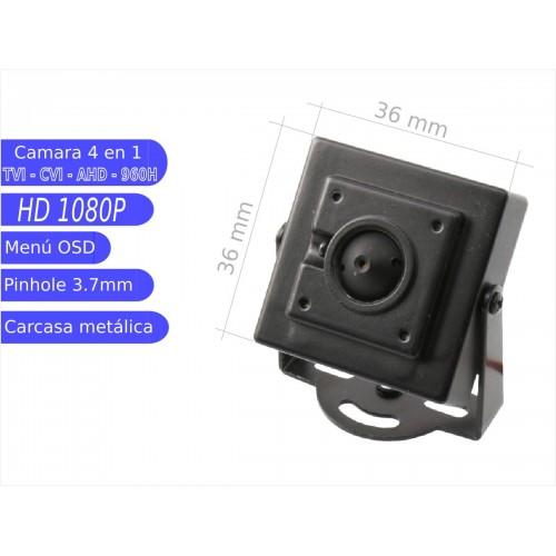 Mini camara 4 en 1 1080P interior 3,7mmOSD negra