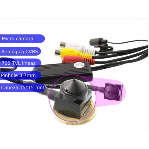 Micro cámara pinhole 700TVL con audio  óptica 3,7 mm