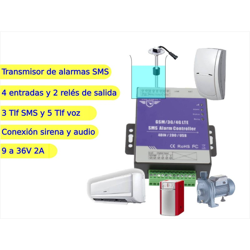 Transmisor alarma por SMS 4 entradas 1 salida