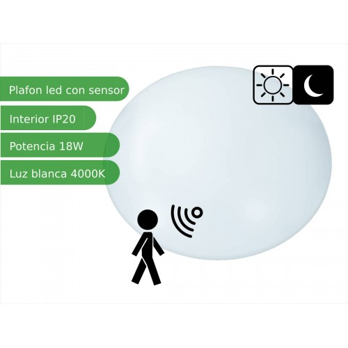 Plafón techo LED sensor redondo 18W blanco 4000K natural