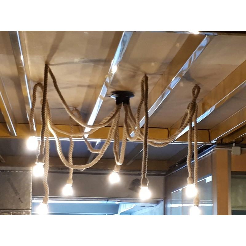 Lampara cuerda vintage techo 8 brazos E27