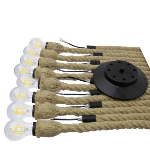 Lampara colgante cuerda vintage 8 brazos E27