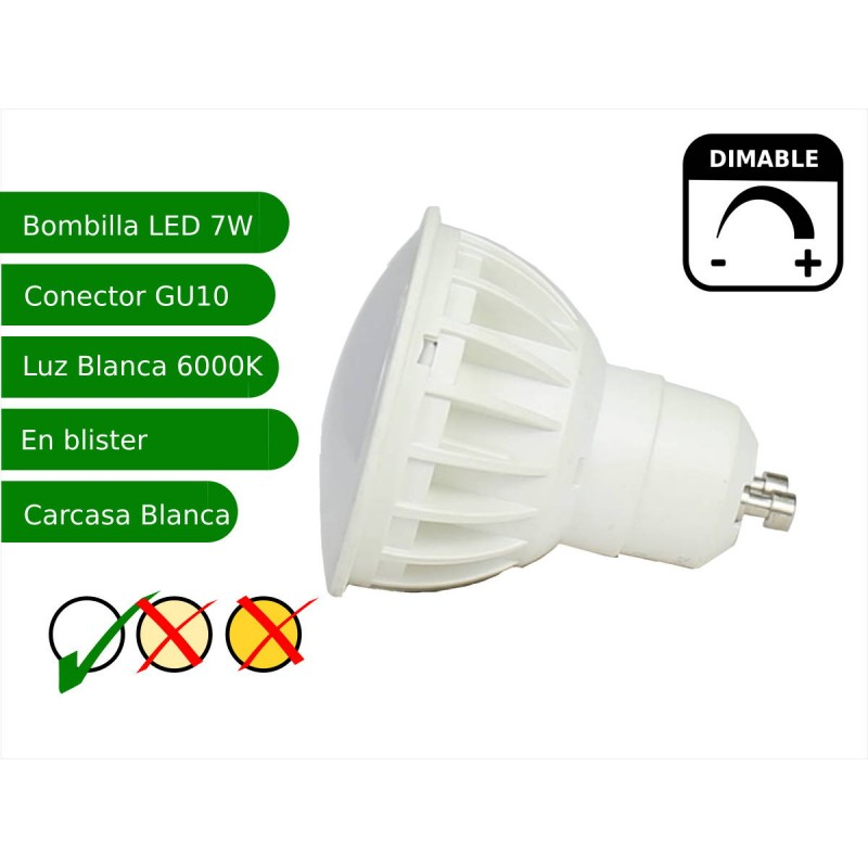 Bombilla led regulable GU10 7W blanco frio 6000ºK