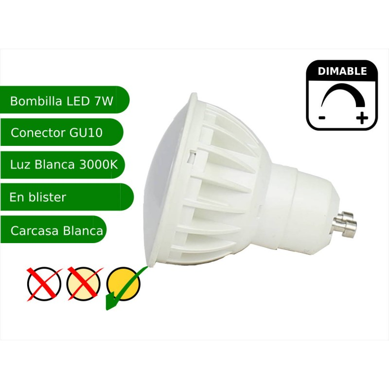 Bombilla led regulable GU10 7W blanco 3000K