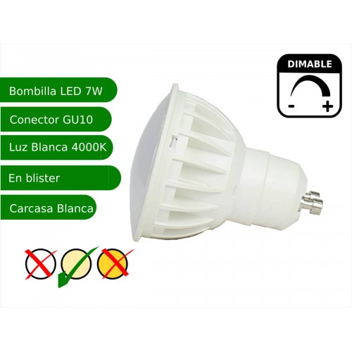 Bombilla led regulable GU10 7W blanco 4000K