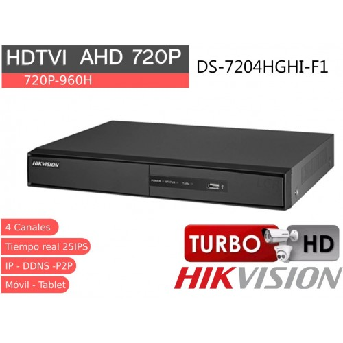 Videograbador 4 CH 720P HD TVI, analógico IP. audio, DS-7204HGHI-F1