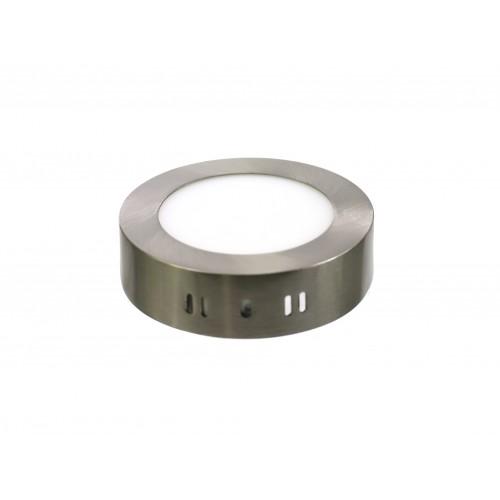 Downlight LED 6W 4000K redondo superficie acero