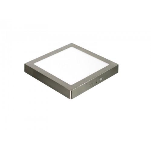 Downlight LED 18W 4000K cuadrado superficie acabado acero
