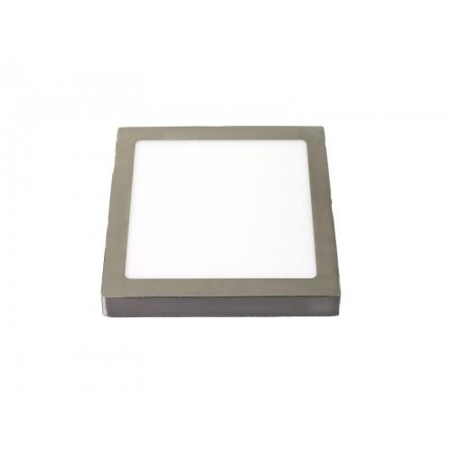 Downlight led 12W 6000ºK cuadrado superficie plateado