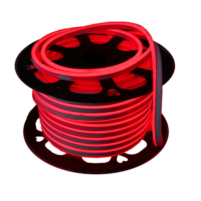 Neon LED flexible simple 120LED/m 7W/m Rojo exterior 50m