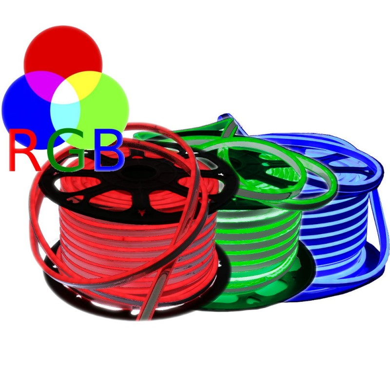 Neon LED flexible doble cara 120LED/m 7W/m multicolor RGB exterior 50m