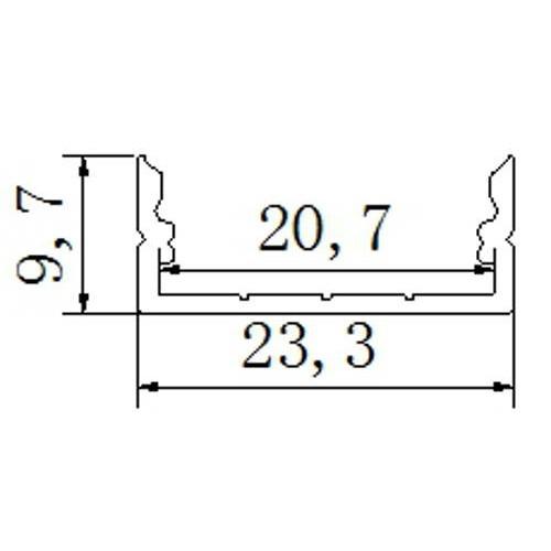 Perfil aluminio tira led 2 metros superficie 23,3*9,7mm con tapa