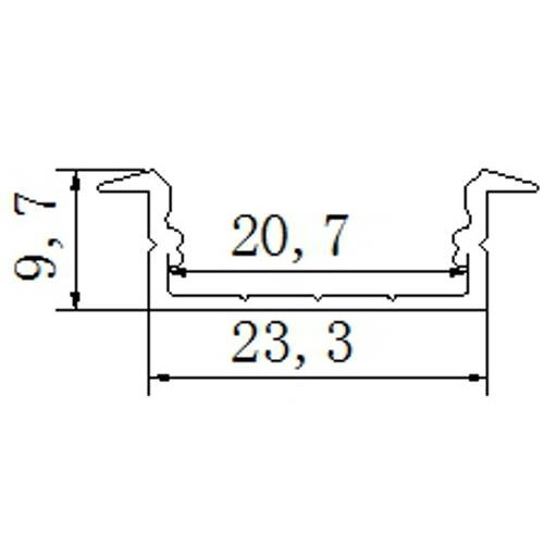 Perfil aluminio tira led 2 metros empotrar 23,3*9,7mm con tapa