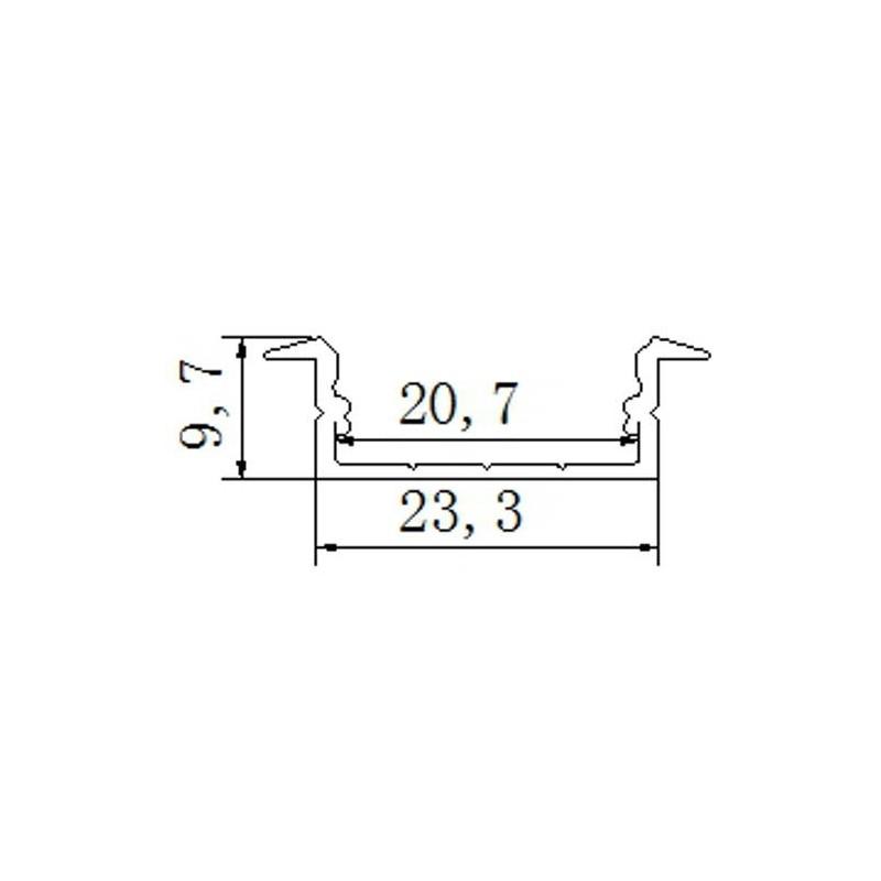 Perfil de aluminio empotrar 23,3*9,7mm con tapa