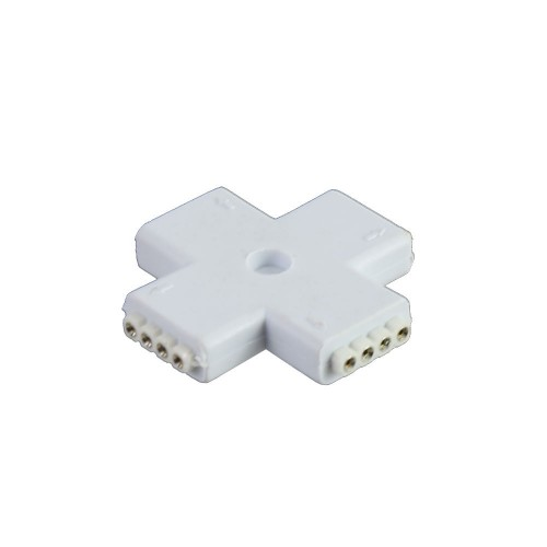 Conector en X 90º tira led rgb 10mm 4pin