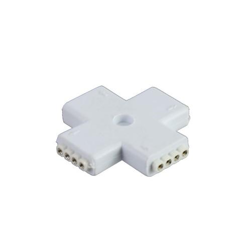 Conector en X 90º tira led rgb 10mm 4pin