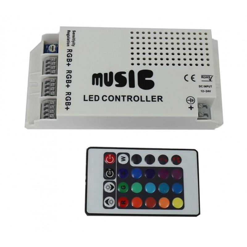 Sistema control musica RGB tira 12V/24V 18A
