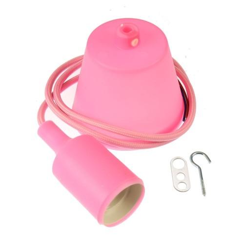 Lampara colgante base, cable y portamparas rosa E27