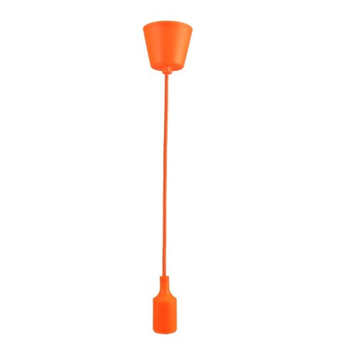 Lampara colgante base, cable y portamparas naranja E27