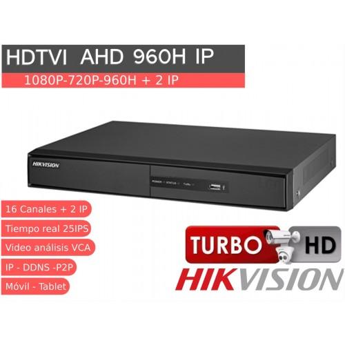 Videograbador 16 CH 1080P HD TVI, analógico e IP HIKVISION AUDIO ALARMAS