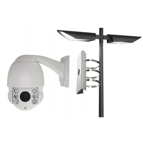 Soporte para poste  camara y domo pesado diametro max 200mm metalico epoxy