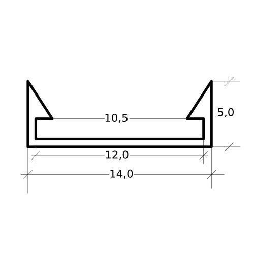Perfil aluminio tira led 2 metros superficie 14 x 5 mm sin difusor